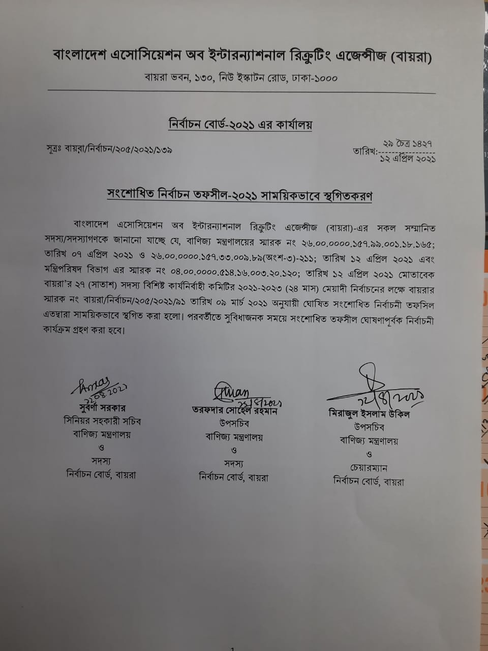 BAIRA Election Temporarily suspended